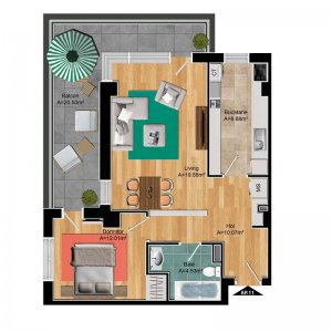 Pipera - apartament 2 camere 2019 - terasa 20mp - COMSION 0