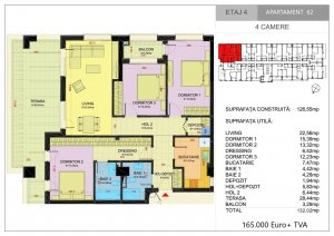 Apartament 4 camere terasa 28 mp - Pipera - complex 2021