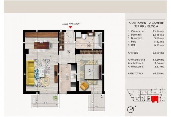 Apartament 2 Camere - 2C TIP 8B