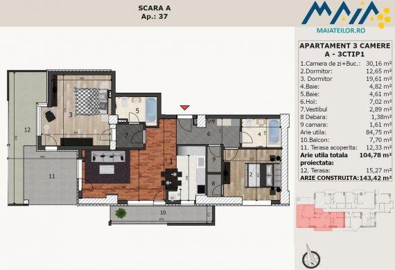 Apartament 3 Camere - A-3CTIP1