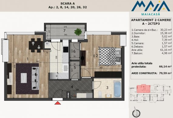 Apartament 2 Camere - A-2CTIP3