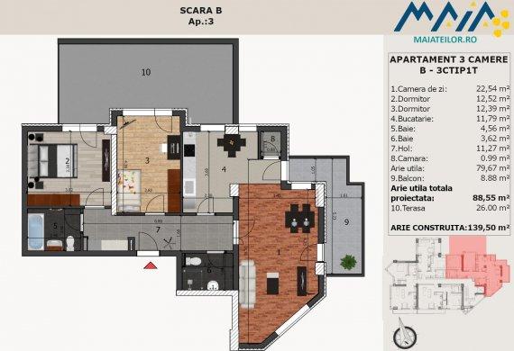 Apartament 3 Camere - B-3CTIP1T