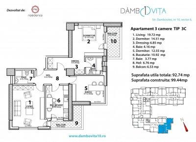 Apartament 3 Camere - 3C  Scara 1