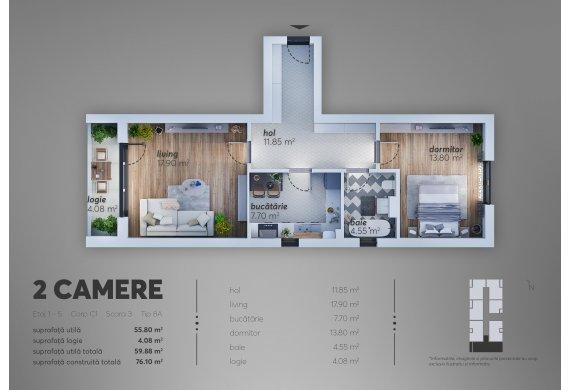 2 Camere Apartment - C1.8A