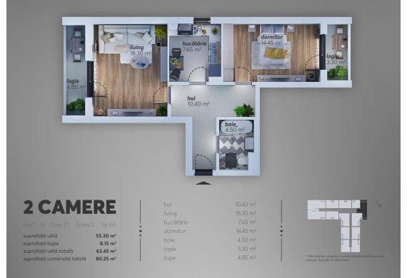 2 Camere Apartment - C1.6A