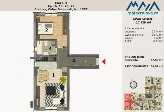 Apartament 2 Camere - 2C TIP A6
