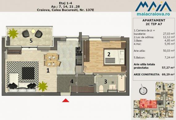 Apartament 2 Camere - 2C TIP A7