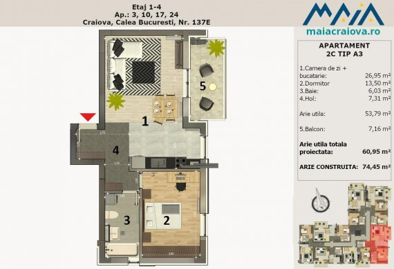 Apartament 2 Camere - 2C TIP A3