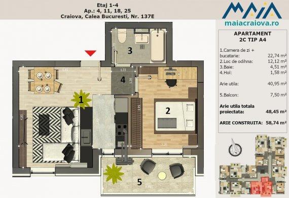 Apartament 2 Camere - 2C TIP A4