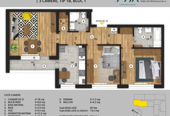 Apartament 3 Camere - 3C Tip 1B