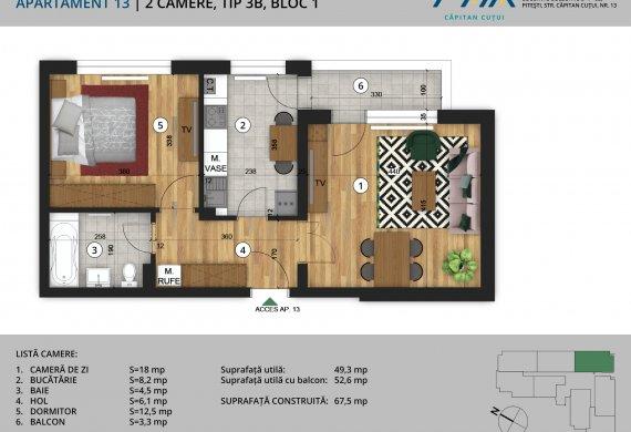 Apartament 2 Camere - 2C Tip 3B