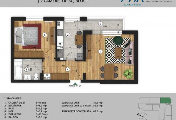 Apartament 2 Camere - 2C Tip 3C