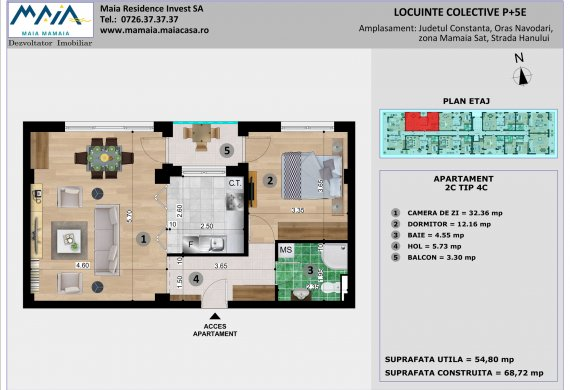 Apartament 2 Camere - 2C TIP 4C