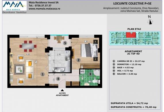 Apartament 2 Camere - 2C TIP 4D