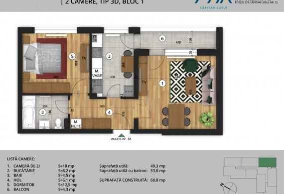 Apartament 2 Camere - 2C Tip 3D