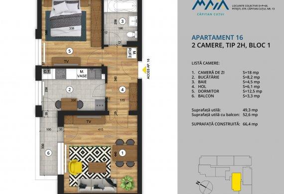 Apartament 2 Camere - 2C Tip 2H