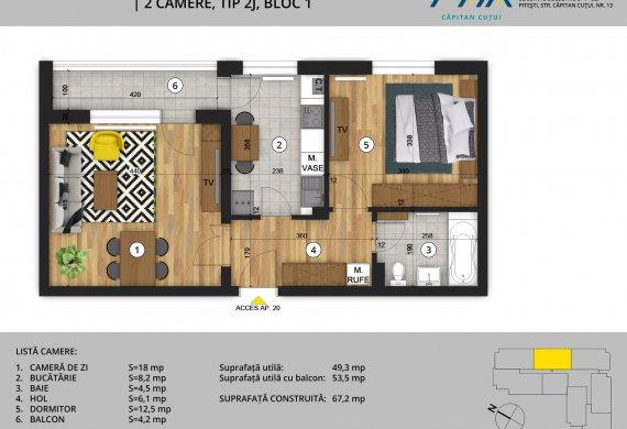 Apartament 2 Camere - 2C Tip 2J