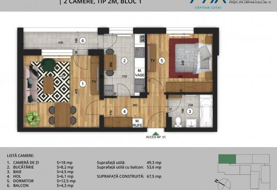 Apartament 2 Camere - 2C Tip 2M