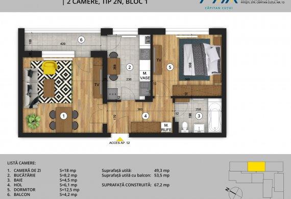 Apartament 2 Camere - 2C Tip 2N