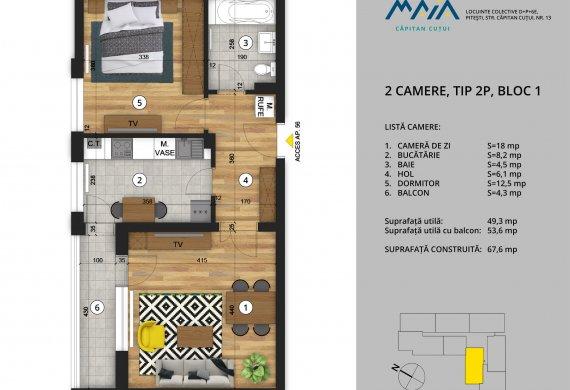 Apartament 2 Camere - 2C Tip 2P