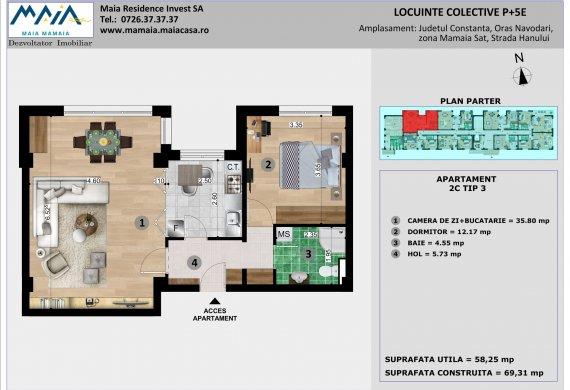 Apartament 2 Camere - 2C TIP 3