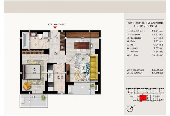 Apartament 2 Camere - 2C TIP 1B