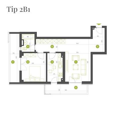 Apartament 2 Camere - 2B1