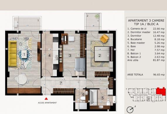 Apartament 3 Camere - 3C TIP 1A