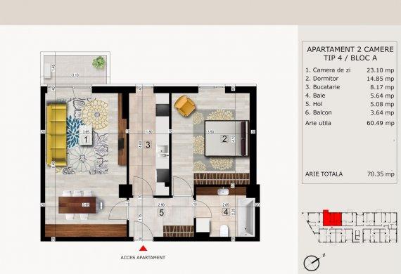 Apartament 2 Camere - 2C TIP 4